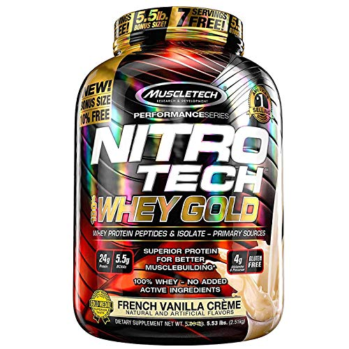 MuscleTech NitroTech Whey Gold, 100% reines Whey Protein, Whey Isolate und Peptide, Vanille, 2.51 g